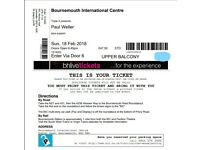 Paul Weller 2018 Tour tickets - Bournemouth x2