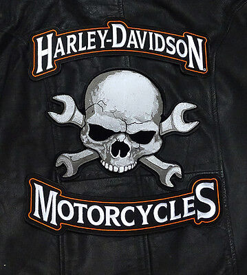 HARLEY 12 INCH TOP BOTTOM ROCKER WITH SKULL WRENCH 3PC BACK PATCH