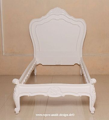 Barock Bett 90cm Louis XV weiß Einzelbett Mahagoni Massivholz Antik Stil Vintage