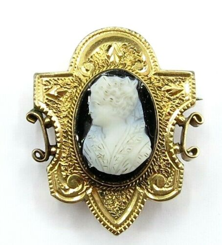 Victorian Gold Filled Black Stone White Cameo, C Clasp, Mourning Jewelry