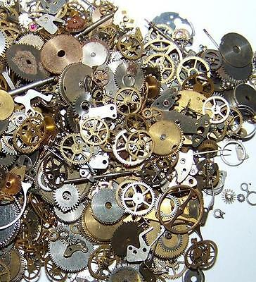 30G Gears 350  Lot Old Steampunk Watch Parts Pieces Vintage Antique Cogs Wheels
