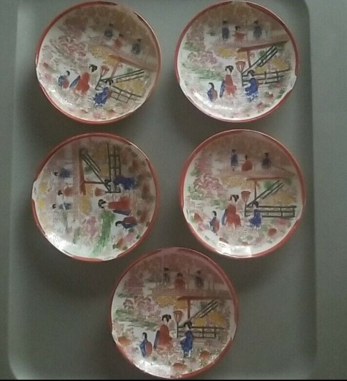Vintage Satsuma Set of 5 Small Handpainted Geisha Plates
