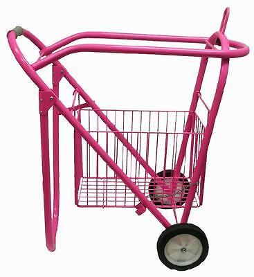 Rolling Travel Saddle Rack Stand Wheels Basket Western English Barrel Show PINK