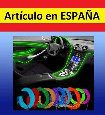 LUCES NEON baile 5m+CONECTOR tira iluminacion flexible12V disfraz mechero coche