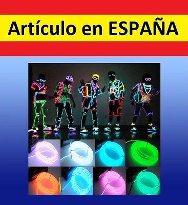 LUCES NEON baile 5m+BATERIA tira iluminacion flexible12V fiesta disfraz coche