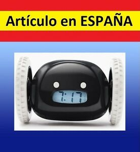 DESPERTADOR-digital-LCD-snooze-alarma-clock-reloj-esconde-RUEDAS-SALE-CORRIENDO