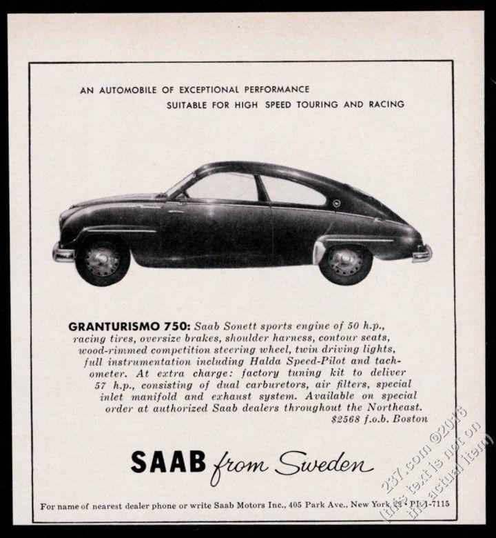 1958 Saab Granturismo 750 car with Sonett engine vintage print ad
