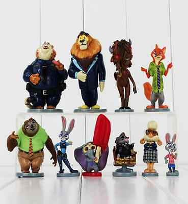 Movie zootopia action figures dolls judy nick 10pcs toys cake kids toppers gift