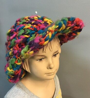 (Women's Hand Made Free form Crochet one Size Fits All winter hat! Multi-color)
