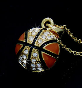 New Basketball Gold Tone Crystal Charm Pendant Chain Necklace Sports
