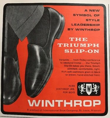 Vtg  Winthrop Patent Leather Slip On Oxfords Shoes 1962 Advertising