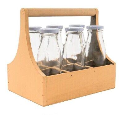 Glas Getränkeflaschen (6 Stk Glasflaschen in gelber Holzkiste Träger Getränkeflaschen Milchflasche Deko)