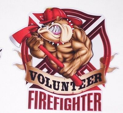 Volunteer Firefighter Bulldog sticker graphic decal window golf cart Fire Fight