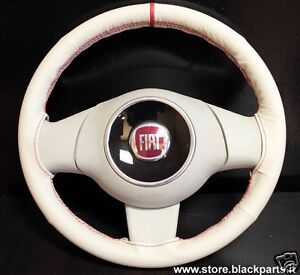 Coprivolante-AVORIO-specifico-per-Fiat-500-POP-LOUNGE-volante-in-POLIURETANO