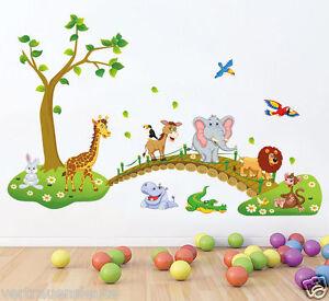 Wandsticker XL Wandtattoo Kinderzimmer Tierbrücke Elefant Krokodil Affe Nilpferd