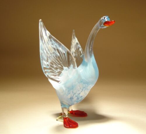 """Blown Glass Figurine  """"Murano"""" Art Bird White GOOSE"""
