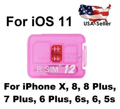 R-SIM 12 UNLOCKER iOS 11 APPLE iPHONE 5S 6 6S 7 8 PLUS X SPRINT VERIZON USA RSIM