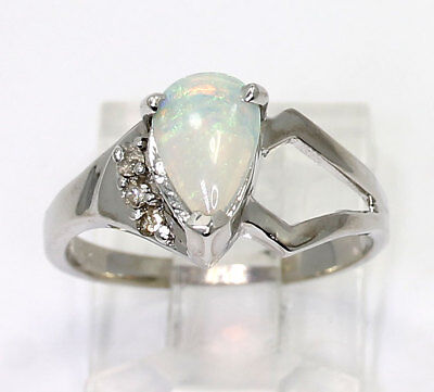Diamond opal ring 14K white gold round brilliant & pear .78CT size 7 birthstone
