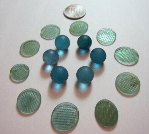 Natural Sea Glass Beach Glass 10 Ohajiki & 6 Balls Genuine Japan Surf-Tumbled