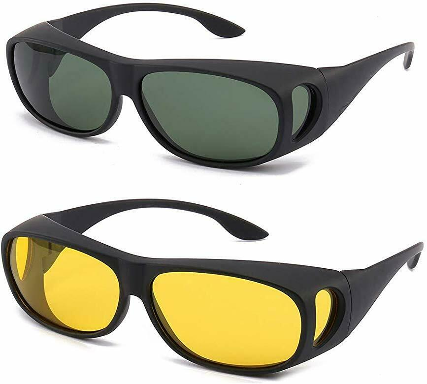 2 Pair HD Day Night Vision Glasses Driving Sports Wraparound Fit Over Sunglasses
