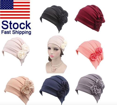 Muslim Womens Flower Cancer Chemo Hat Hijab Hair Loss Head Scarf Turban Cap Wrap Clothing, Shoes & Accessories