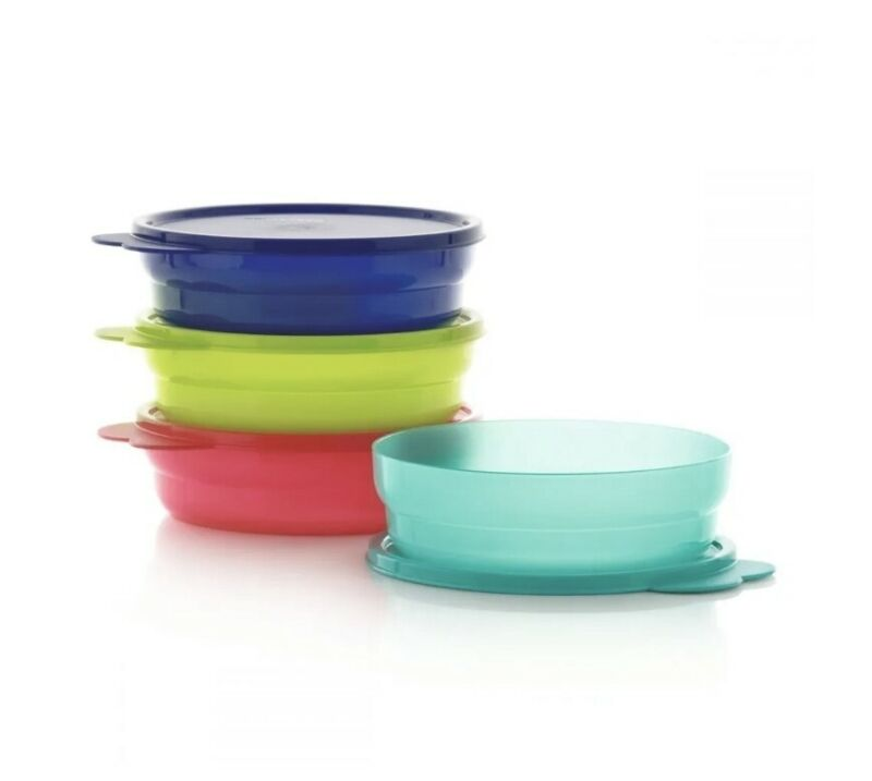 New TUPPERWARE Microwave REHEATABLE Cereal Bowls SET OF 4 - 2-cup FREE US SHIP