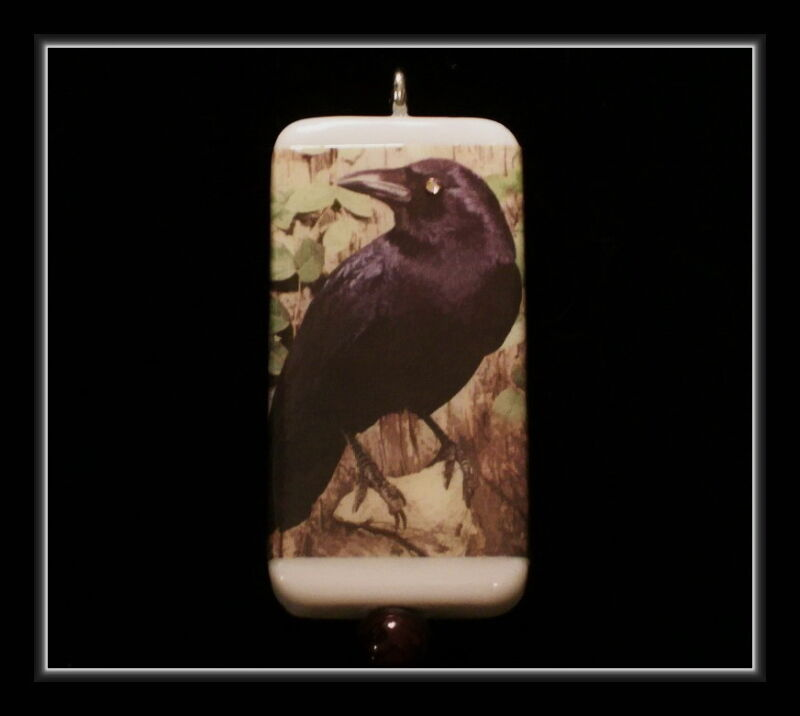 JUST A CROW - FROM A VINTAGE POSTCARD - DOMINO NECKLACE
