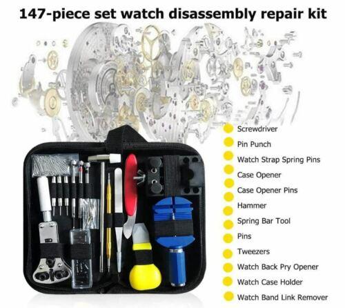 147 pcs Watch Repair Kit Watchmaker Back Case Remover Opener Link Pin Spring Bar