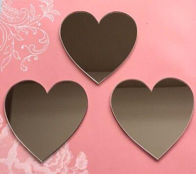 3 x Heart Shaped Acrylic Mirrors 8cm