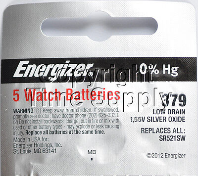 5 pcs 379 Energizer Watch Batteries SR521SW SR521 0%HG