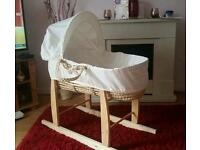 Moses Basket with Rocking Stand - Cream - Excellent Condition