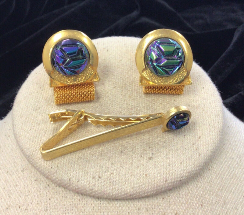 Vintage Lord Newport Costume Rainbow Stone Cuff Links & Tie Bar Set HH737