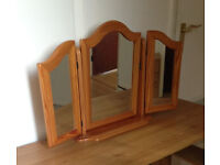 Solid Pine freestanding triple mirror unit for dressing table, or elsewhere.