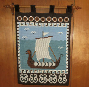 TAPESTRY Wall Hanging w/ Rod - NORDIC VIKING SHIP - Hand Stitch