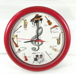 Musical Wall Clock - Plays a Different Instrument Each Hour - Red 10 Round