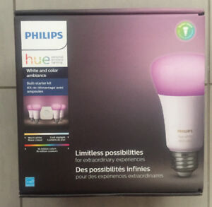 Philips Hue white and color ambiance bulb starter kit. Sealed.