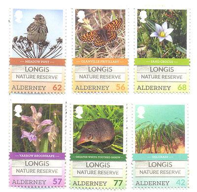 Alderney-Longis Nature Reserve set 2016 mnh -Birds-Butterflies