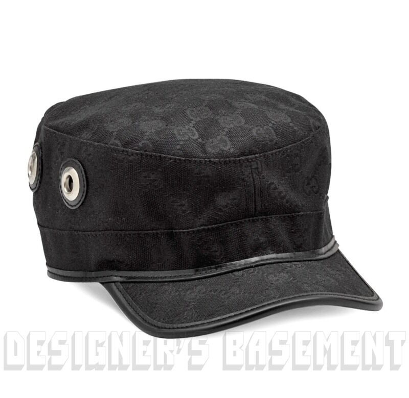 ... GUCCI black-on-black GG canvas Grommets Horsebit buckle MILITARY hat  NWT Authent фото c47b7a5003c