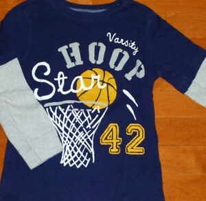 Carter's ~ Boys Size 5 Long Sleeve Fooler Basketball Top