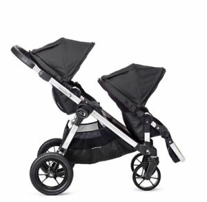 Double Baby Jogger City Select + Glide Board + Weather Shield
