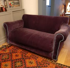 Victorian purple velvet 2 seater sofa