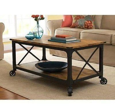 Black Coffee Table Wood Top Living Room Vintage End Furnitur