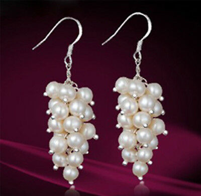 Genuine White Cultured Freshwater Pearl Cluster Dangle Sterling Silver Earrings (Cultured Freshwater Pearl Cluster)