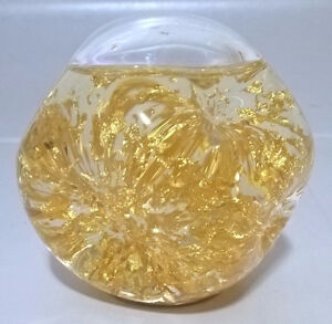 Goldenflow Studios Glass Paperweight 23k Gold Flake Water 3 Inch