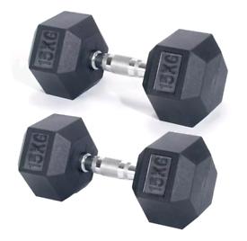2x15kg Pro Fitness Hex Rubber Dumbbell Set 2 x 15kg