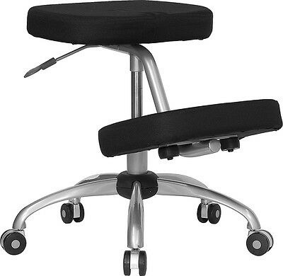 Mobile Ergonomic Kneeling Chair In Black Fabric With Silver Powder Coated Frame