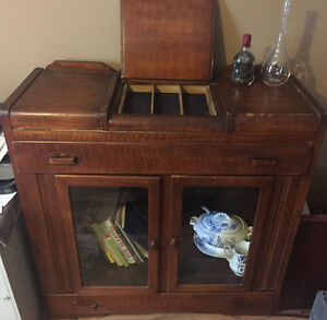 Antique wood  bar, hutch good cond