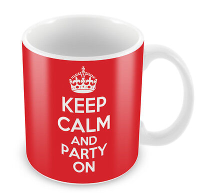 KEEP CALM and Party On - Coffee Cup Gift Idea present rave dance xmas