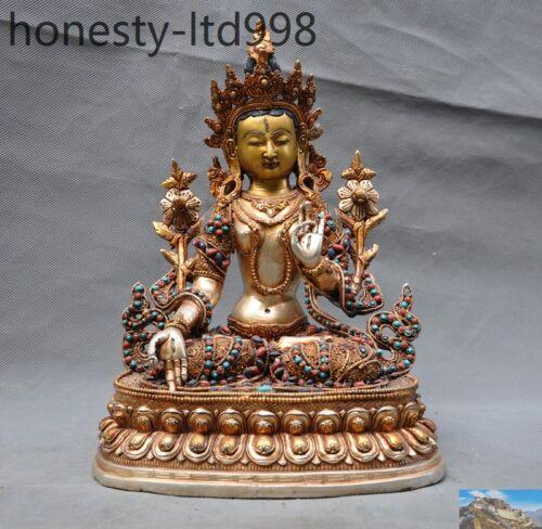 A Tibet 24k Gold Gilt Filigree Inlay Turquoise Gem Tara Kwan-yin Guan Yin Statue