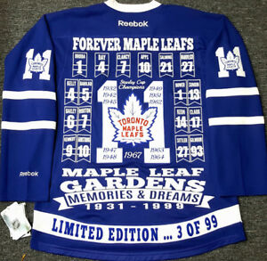 TORONTO MAPLE LEAFS 11 STANLEY CUP LTD 99 GARDENS SEAT  JERSEY